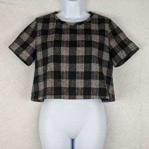 Pomelo Cropped Black Red plaid Top